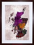 PAINTING MAP OUTLINE SCOTLAND TARTAN INSET REGIONS FRAMED PRINT F12X6524