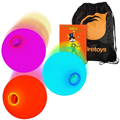 3x LED Slow Fade Rainbow Glow Juggling Balls, 'How to' Booklet, Batteries & Bag by Firetoys Juggling Balls - Ge-licht-schalter