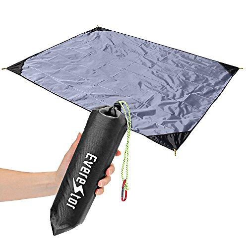 Beach Decke, Everestor Dauerhaft Leicht Tragbar Kompakt Sand & Wasser Beweis Tasche Decke für Outdoor Reise Wandern Camping Picknick Festivals 200cm x 150cm Schwarz
