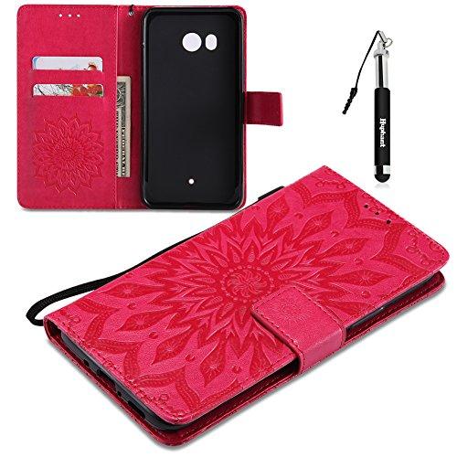 Huphant Compatible for HTC U11 Hülle, HTC U11 Tasche Leder, Huphant Flip Case Leder PU Leather Case Wallet Case Magnet Case Schutzhülle Klappbar für HTC U11 (5,5 Zoll) - Rot
