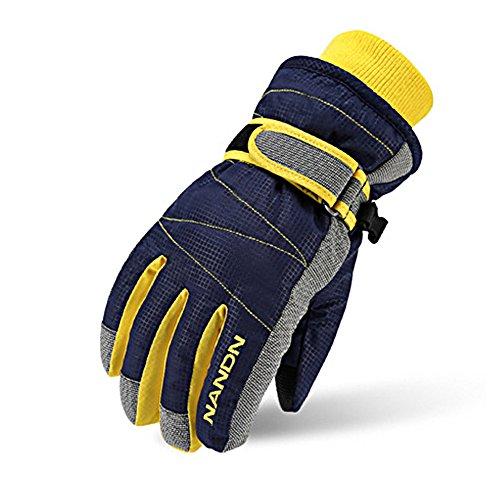 Rmine Ski Handschuhe Winddicht Regendicht Thermohandschuhe für Herren Damen Junge Kinder (Blau, M (9-14 jahre))