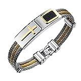 Onefeart Edelstahl Armband Männer Drei Reihen von Drahtgeflecht,Kreuz Muster,Leder 1.2x18.5CM