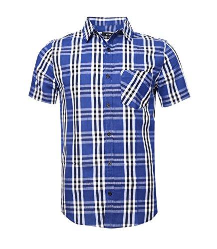 Nutexrol camicie uomo camicie a quadri, casual, comodo e moderno per l'estate, manica corta, blu (camicia sottile), xxxl