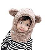 Tukistore Baby Wintermütze Schalmütze Plüsch Ohrenklappen Hüte Winter Warme Kapuzen Schal Beanies Hüte Schlupfmütze Wolleschal Nettes Ohr Plüsch Beanie Hut für Jungen Mädchen