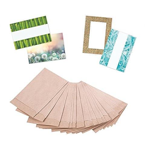 100 Stück kleine mini Papiertüten Tütchen Kraftpapier braun 6,3 x 9,3 cm (+ 1,5 cm Lasche) MIT TESTAUFKLEBERN !!! Verpackung Gastgeschenke Mitgebsel Globuli Samen Produkte Tabletten give-aways