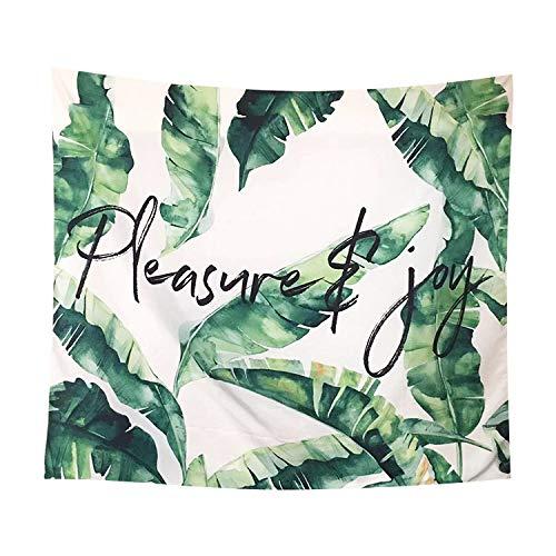 mmzki Nordic Planta Verde Dormitorio Sala de Estar decoración Tapiz Colgante paño Pintura Fondo Pared de Terciopelo Tela para el hogar 53 150x150cm