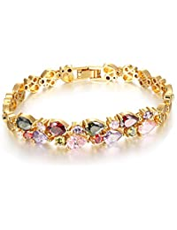 Yellow Chimes Double Layer 18K Gold Plated Swiss Cubic Zircon Bracelet for Women and Girls