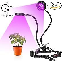 Lámpara LED Plantas,iThird 12W lámpara de Crecimiento con temporizador regulable dimmable total luz de Espectro lámpara planta de crecimiento para hogar planta Jardín [Clase de eficiencia energética A+++]