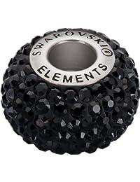 Grand Trou Perles de Verre a enfiler de Swarovski Elements 'BeCharmed Pave' 14.0mm (Jet, Acier affiné), 12 Pièces