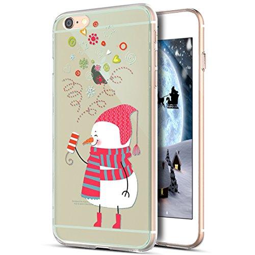 e 6S Plus Hülle,iPhone 6 Plus Hülle,Durchsichtig Xmas Christmas Weihnachten Schneeflocke Klar TPU Silikon Handyhülle Schutzhülle für iPhone 6S Plus/6 Plus,Weihnachten Schneemann ()