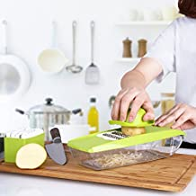 Mandoline Slicer, Kealive Multi-functional Adjustable Vegetable Cutter with 5 Interchangeable Stainless Steel Blades and Food Storage Container