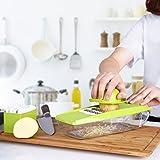 Mandolina, kealive ajustable multifuncional Cortador de verduras (con 5cuchillas de acero inoxidable intercambiables y recipiente de almacenamiento de alimentos