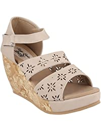 Style Buy Style Synthetic Leather Casual And Party Wear Wedge Sandal For Women_SBS101_2017P
