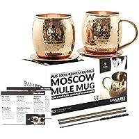 Moscow Mule Becher Geschenk Set | 2 Kupfertassen + 2 Untersetzer + 2 Trinkhalme + 1 Reinigungsbürste + 2 Cocktail Rezeptkarten | 450ml | TÜV geprüft | 100% Kupfer | keine Beschichtung | Handarbeit