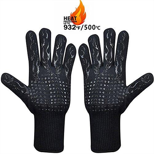 MojiDecor Grillhandschuhe hitzebeständig bis zu 500°C, 1 Paar BBQ Handschuhe Ofenhandschuhe Silikon Rutschfeste Kochenhandschuhe Backhandschuhe, Extra Lang Zum Grillen, Kochen, Backen, Feuerplatz - Silikon-grillen-handschuhe
