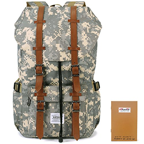 KAUKKO Nouvelle fonctionnalité Avec 2 poches latérales Sac à dos Voyage ou randonnée pédestre Sac pour ordinateur portable pour les hommes et les femm...