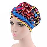 Lamdoo Femme Indien Extensible Turban Chapeau coloré plissé Tête Wrap Chimio Cancer Chapeau Neuf F # Blanc Wave, Coton, A# Red+Blue Geometric, Taille Unique