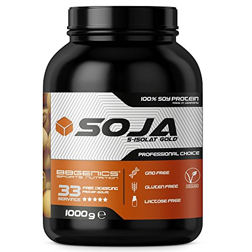 Soja Isolate GOLD - (100{263990cedc2cc19ee6445470856c833b2cccaf75ca04ff8aaff9f9f85ce12201} vegan natural Soy Protein, lactosefrei, natuerliches Eiweiss Isolat), by BBGenics Sports Nutrition, 1000g Vanille