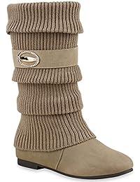 Stiefelparadies Damen Stiefel High Heels mit Trichterabsatz Stulpen  Schnallen Flandell 1d3dd4fbdc