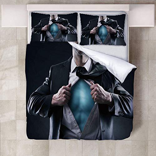 XQJHDHKAD Bettbezug Set,Bettwäsche-Set, Super Weiche Mit Reißverschluss 3D Microfaserkleidung In Einem Anzug Hypoallergen Atmungsaktive-200 X 200Cm (2-knopf-seersucker-anzug)