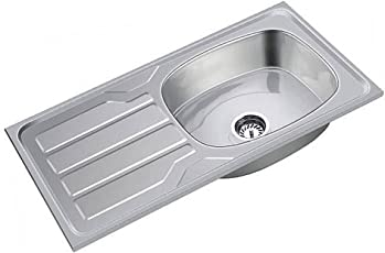 SS Sink Stainless Steel Single Board With Drain Board - (Chrome, 37*18*8 inches)