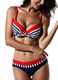 FITTOO Damen Push Up Triangle Bikini-Set mit Bügel Zweiteiler Strand Bademode Badeanzug Streifen (Rot) XL