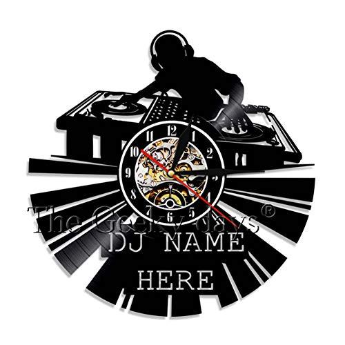 YLNEW Horloge Murale DJ Art Mural Platine Vinyle DJ Votre Nom Vinyle Disque Horloge Murale Décoration Murale Rétro