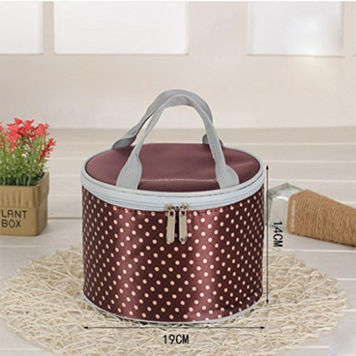 MOXIN bag lunch box sacchetto isolato borsa secchiello per pic-nic viaggio , big: red trumpet: coffee polka dot