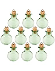 Botella Deseen 10pc Botellas Corcho Cristal Frasco Redondo Y Plano Colgantes De Bricolaje Verde