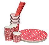 Unbekannt Partyset Punkte Geschirr 74 Teile - Teller, Becher, Trinkhalme, Muffinformen (rot)