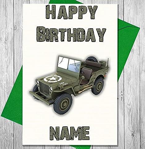Jeep Militaire Armée véhicule Carte d'anniversaire personnalisée Premium