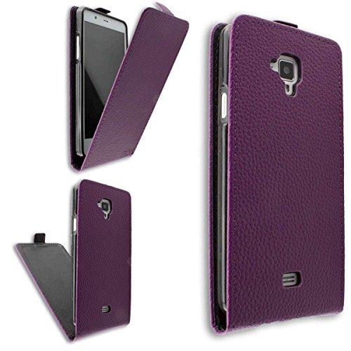 caseroxx Hülle/Tasche Flip Cover lila + Bildschirmschutzfolie für Archos 50 Titanium 4G, Set bestehend aus Flip Cover & Bildschirmschutzfolie