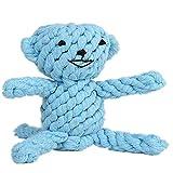 RuiHuang Hundespielzeug Für Große Hund Biss Resist Interaktive Baumwolle Knochen Seil Spielzeug Welpen Kleine Hundespielzeug Kauen Zahnreinigung Blauer Bär 17 cm X 15 cm