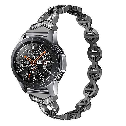Bling Bands für Samsung Galaxy Watch 46 mm/Gear S3 Bänder, 22 mm Diamant Strass Edelstahl Metall Armband Armband Strap Frauen Mädchen Bänder für Samsung Galaxy Watch, 46mm, schwarz (22mm Aluminium-uhrenarmband)