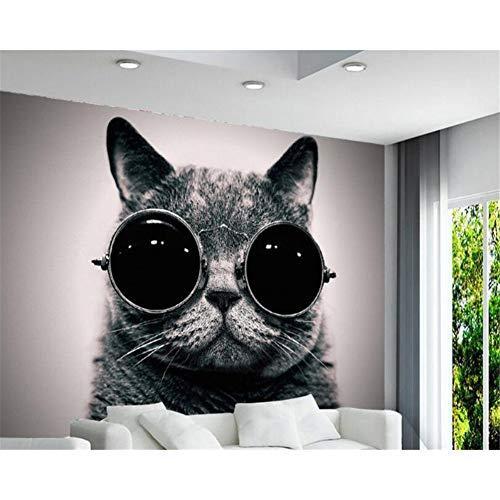 Beibehang Benutzerdefinierte Tapete European Wear Sonnenbrille Katze Nette Spielen Coole Kinderzimmer Hintergrund Wand 3D Wallpaper Wandbild
