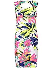(womens neon floral halter neck open back bodycon dress) Femme néon floral cou de halter dos ouvert robe