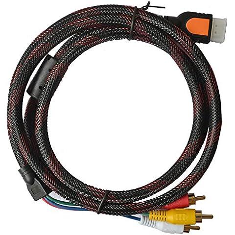 Vimvip 1,5m 1,5m HDMI maschio a 3RCA adattatore convertitore cavo