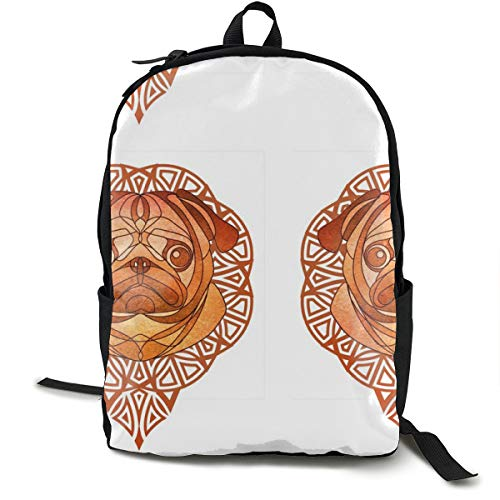 The Golden Pug Adult Premium Travel Backpack, Water-Resistant College School Bookbag, Sport Daypack, Outdoor Rucksack, Laptop Bag for Men&Women
