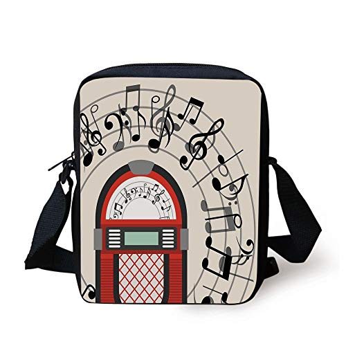 n Antique Old Vintage Radio Music Box Party with Notes Artwork,Black White Grey and Red Print Kids Crossbody Messenger Bag Purse ()