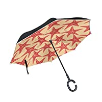 COOSUN Sea Stars Pattern Double Layer Inverted Umbrella Reverse Umbrella for Car and Outdoor Use Rain Windproof Waterproof UV Protection Big Straight Umbrella With C-Shaped Handle