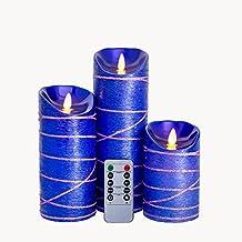 Sin llama vela Led parpadeo sin llama velas de cera con juego de 3W/automático 5horas temporizador día de la madre regalos, velas navideñas, decoración de la mesa, de la boda