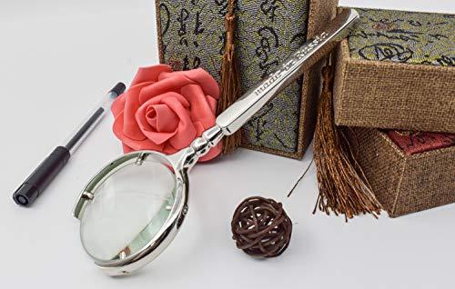 XIAOL Home Hand mit halbmondförmiger Öffnung 8-fache Lupe Lesung Lesen Zeitung ältere Kinder Juwelier Karte Karte Scheinwerfer Zündung -
