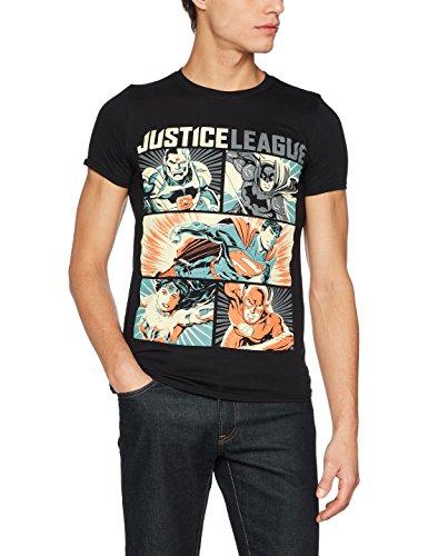 DC Comics Herren T-Shirt Justice League Comics-Pop Art, Schwarz, XX-Large