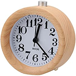 BESTOPE Mignon Réveil Classique Silencieux Alarme Horloge de Chevet en Bois de Hêtre avec Veilleuse pour le bureau et la chambre