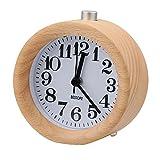 BESTOPE Mignon Réveil Classique Silencieux Alarme Horloge de Chevet en Bois de...