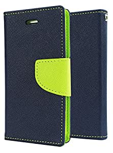 SDO™ Luxury Mercury Diary Wallet Style Flip Cover Case for Motorola Moto E 1st Generation - Blue + 3.5mm Auxiliary Cable aux
