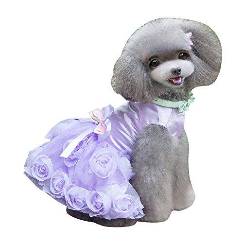 eizur Hunde Kleid Prinzessin rosa Blume Rock aus Spitze Abend Formale Party Tutu Bowknot Welpen Sommer-Kleidung Kostüm Set Apparel Größe S-XXL (violett/pink)