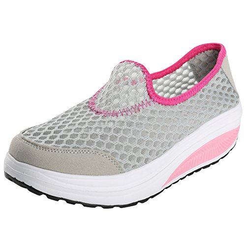 Alexis Leroy Piattaforma, Scarpe da ginnastica Low-Top Sneaker con Zeppa Donna Grigio