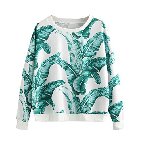 FEITONG Frauen Tops Rundhals Katzen Blätter Drucken Lange Ärmel Sweatshirt Pullover (XL, Weiß) (Anzug Ärmel Knöpfe)