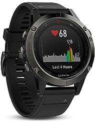 Garmin Fēnix 5 Smartwatch Gps-Multisportuhr, Grau, Armband Schwarz, 47 mm